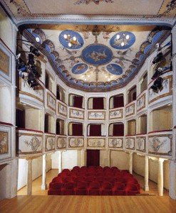 The smallest theater in the world, the Teatro della Concordia, visited on our Tuscany Umbria tour.