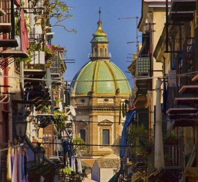 Palermo Sicily streets and church