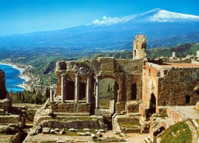 Greek theater at Taormina Sicily with Mt Etna in the background