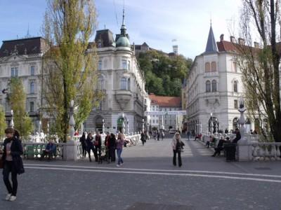 The triple bridge of Ljubljana constructed by architect Jože Plečnik. Friuli Venezia Giulia and Slovenia tour