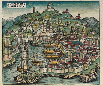 Genova (Italy woodcut 1493), part of our Lucca, Genova & Cinque Terre tour